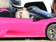 """March 15th, 2010 Lancaster CA. **EXCLUSIVE PHOTO** Rapper Nikki Manaj films a music video for her first single """"Massive Attack"""". The video is directed by Hype Williams and features Rapper Birdman as well as Kanye West's girlfriend Amber Rose. Real Life BFF's Nikki and Amber sped around the desert in a pink Lamborghini while being chased and filmed by a helicopter. Photo by Eric Ford/ On Location News 818-613-3955  info@onlocationnews.com"""