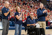 Gonzaga honored longtime scoreboard operator John Oakley on Nov. 6. Oakley died Nov. 10 after suffering from amyotrophic lateral sclerosis (ALS). (Photo by Edward Bell)