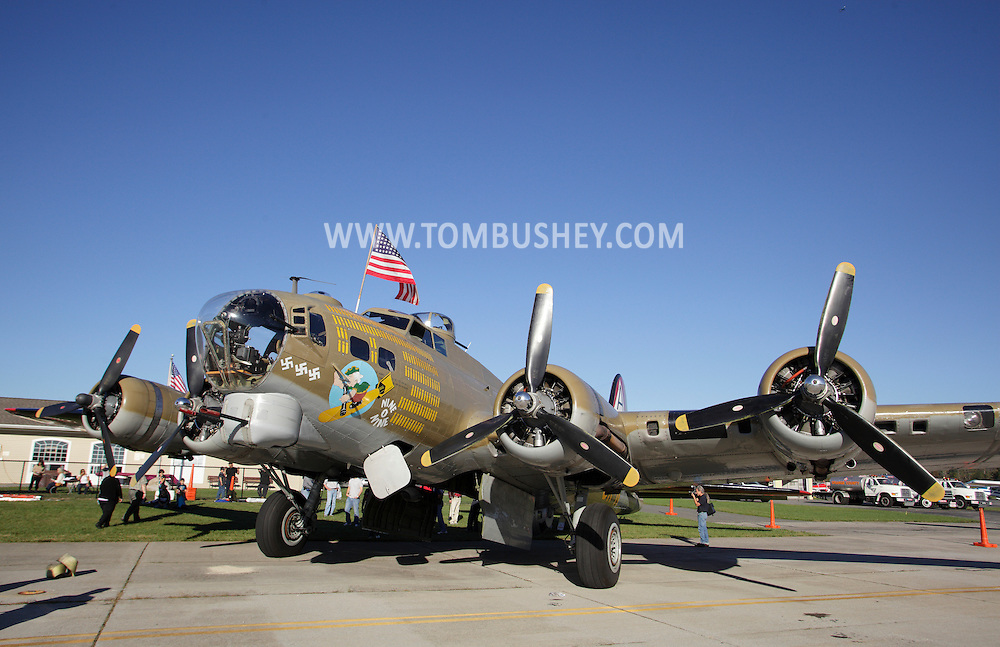 Montgomery, New York - A B-17 Flying Fortress Bomber from Collings Foundation on display as part of the Wings of Freedom Tour at Orange County Airport on Oct. 2, 2010.
