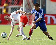 CHORZOW 01/06/2008.POLAND v DENMARK.INTERNATIONAL FRIENDLY.JACEK KRZYNOWEK OF POLAND AND MARTIN RETOV OF DENMARK ..FOT. PIOTR HAWALEJ / WROFOTO
