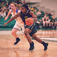 3rd year guard, Kyanna Giles (9) of the Regina Cougars during the Women's Basketball Home Game on Fri Feb 15 at Centre for Kinesiology,Health and Sport. Credit: Arthur Ward/Arthur Images