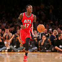 03 November 2013: Atlanta Hawks point guard Dennis Schroder (17) brings the ball upcourt during the Los Angeles Lakers 105-103 victory over the Atlanta Hawks at the Staples Center, Los Angeles, California, USA.