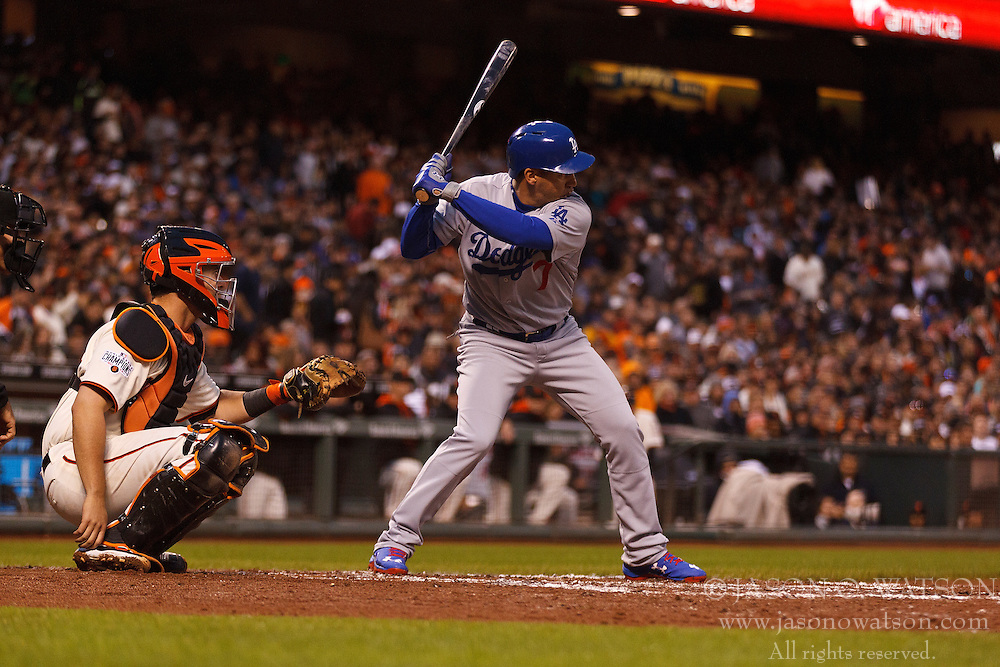 SAN FRANCISCO, CA - MAY 20:  Alex Guerrero #7 of the Los Angeles Dodgers at bat against the San Francisco Giants during the fourth inning at AT&T Park on May 20, 2015 in San Francisco, California.  The San Francisco Giants defeated the Los Angeles Dodgers 4-0. (Photo by Jason O. Watson/Getty Images) *** Local Caption *** Alex Guerrero