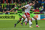 Forest Green Rovers Omar Bugiel(11) goes in to tackle Accrington Stanley's Liam Nolan(6) during the EFL Sky Bet League 2 match between Forest Green Rovers and Accrington Stanley at the New Lawn, Forest Green, United Kingdom on 30 September 2017. Photo by Shane Healey.