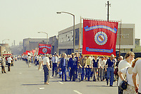 AUEW Constructional Section banner at the start of a march against anti trade union legislation. Sheffield 1980.