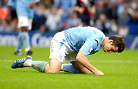 Photo: Daniel Hambury.<br /> Manchester City v West Bromich Albion. Barclaycard Premiership. 13/08/2005.<br /> Manchester City's Joey Barton punches the ground in frustration after a near miss.
