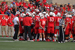 02 September 2017:   Brock Spack peers into the huddle from the back during the Butler Bulldogs at  Illinois State Redbirds Football game at Hancock Stadium in Normal IL (Photo by Alan Look)