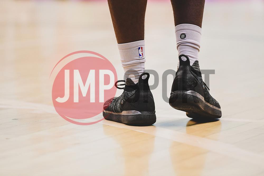 Daniel Edozie of Bristol Flyers sneakers - Photo mandatory by-line: Ryan Hiscott/JMP - 03/11/2018 - BASKETBALL - SGS Wise Arena - Bristol, England - Bristol Flyers v Newcastle Eagles - British Basketball League Championship