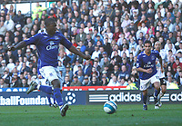 Photo: Steve Bond.<br /> Derby County v Everton. The FA Barclays Premiership. 28/10/2007. Yakubu fires the ball home for Everton's 2nd