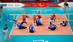 © Licensed to London News Pictures. 31/08/2012, The Paralympics women's sitting volleyball competition got under way this morning at the Excel Centre in London.   The team were beaten by the Ukrainian team who are currently ranked third in the world. Members of the team include Vice-captain Martine Wright who survived the 7/7 terrorist attacks in London and Sam Bowen an Iraqi war veteran.  Photo credit : Alison Baskerville/LNP