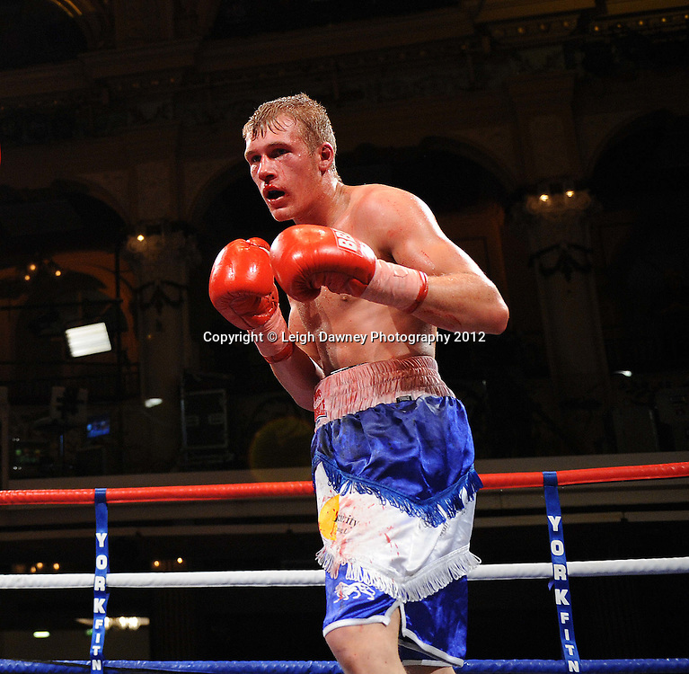 Karl Place defeats Dan Blackwell (pictured) in a Light Welterweight contest at The Winter Gardens, Blackpool on the 31st March 2012. Frank Maloney and Steve Wood VIP Promotions. © Leigh Dawney Photography 2012.