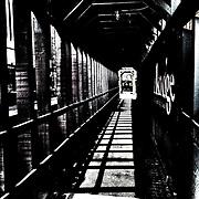 black and white, city scene