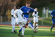 during the quarterfinal boys soccer game between Mount Anthony and Burlington at Buck Hard Field on Friday afternoon October 23, 2015 in Burlington. (BRIAN JENKINS/ for the FREE PRESS)