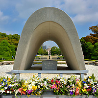 Memorial Cenotaph at Peace Memorial Park in Hiroshima, Japan<br />
