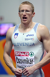 Slovenian athlete Matic Osovnikar in the Qualification 60m run when he didn`t qualified for the semi-final at the 2nd day of  European Athletics Indoor Championships Torino 2009 (6th - 8th March), at Oval Lingotto Stadium,  Torino, Italy, on March 6, 2009. (Photo by Vid Ponikvar / Sportida)
