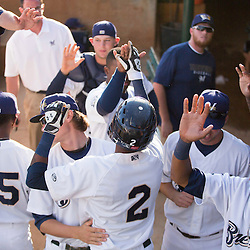 Carlos Belonis (2) is congratulated by his teammates after crossing the plate during an explosive game for the Helena Brewers.