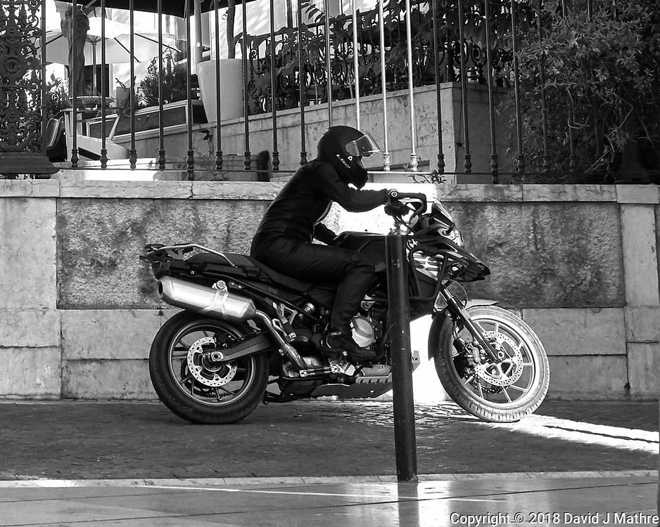 Movie Motorcycle Practice Run. Morning Street Photography in Lisbon. Image taken with a Leica CL camera and 23 mm f/2 lens.