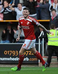 Swindon Town's Ben Gladwin celebrates his goal - Photo mandatory by-line: Dougie Allward/JMP - Mobile: 07966 386802 - 11/05/2015 - SPORT - Football - Swindon - County Ground - Swindon Town v Sheffield United - Sky Bet League One - Play-Off