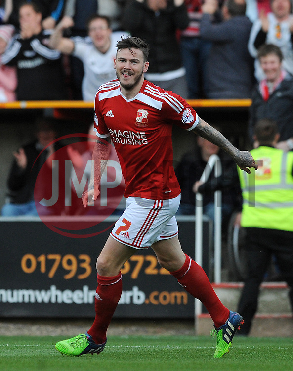 Swindon Town's Ben Gladwin celebrates his goal - Photo mandatory by-line: Dougie Allward/JMP - Mobile: 07966 386802 - 11/05/2015 - SPORT - Football - Swindon - County Ground - Swindon Town v Sheffield United - Sky Bet League One - Play-Off
