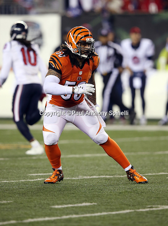 Cincinnati Bengals middle linebacker Rey Maualuga (58) chases the action during the 2015 week 10 regular season NFL football game against the Houston Texans on Monday, Nov. 16, 2015 in Cincinnati. The Texans won the game 10-6. (©Paul Anthony Spinelli)