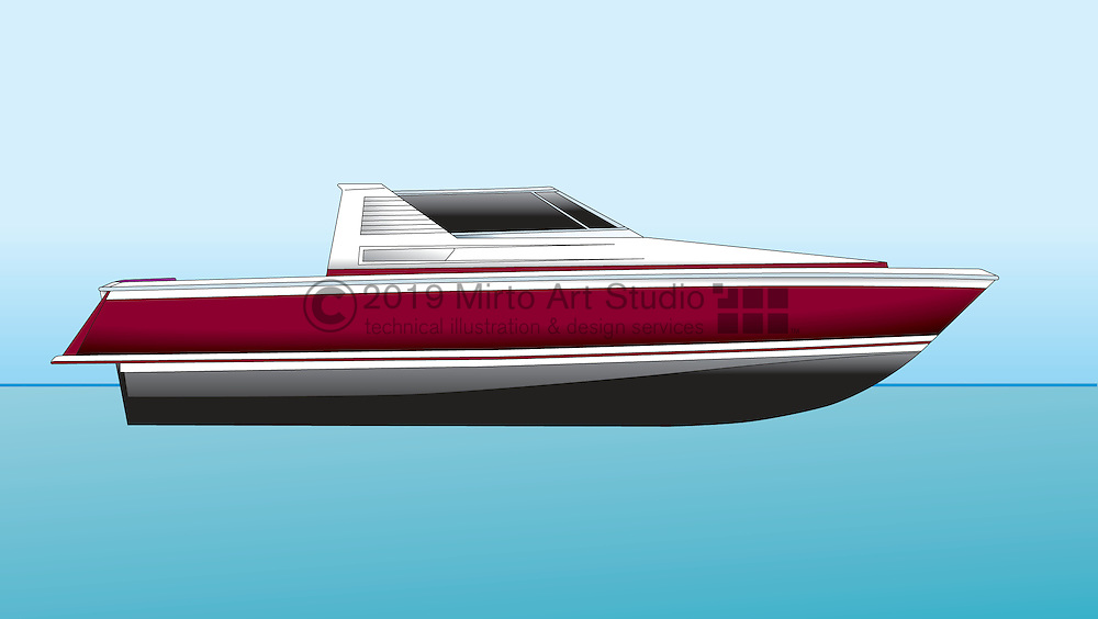 A vector illustration of a jet powered boat profile