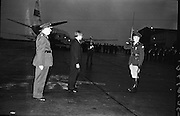 Acting Secretary-General of the U.N., U. Thant, arrives at Dublin Airport.  His visit is part of a tour of European capitals.  Picture shows U. Thant inspecting an Irish Army Guard of Honour..13.07.1962