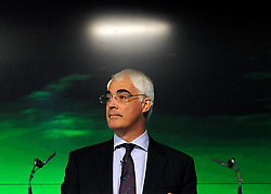 Alistair Darling pictured at a Labour Party press conference on the economy held today at Bloomberg in Finsbury Square London