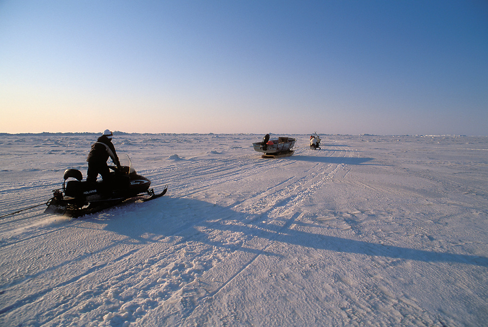 Barrow, Alaska, Native Alaskan whalers transporting a traditional umiak across sea ice by modern snowmachines to a whaling camp nearer the open water