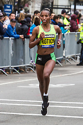 Boston Marathon: female champion Caroline Rotich with less than a mile to go