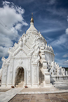 The gorgeous white Myatheindan pagoda in Mingun, near Mandalay, Burma.