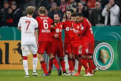 03.03.2015, BayArena, Leverkusen, GER, DFB Pokal, Bayer 04 Leverkusen vs 1. FC Kaiserslautern, Achtelfinale, im Bild vr: Karim Bellarabi (Bayer 04 Leverkusen #38), Torschuetze Hakan Calhanoglu (Bayer 04 Leverkusen #10), Emir Spahic (Bayer 04 Leverkusen #5), Gonzalo Castro (Bayer 04 Leverkusen #27) und Kapitaen Simon Rolfes (Bayer 04 Leverkusen #6) beim Torjubel nach dem Treffer zum 1:0 // during German DFB Pokal last sixteen match between Bayer 04 Leverkusen and 1. FC Kaiserslautern at the BayArena in Leverkusen, Germany on 2015/03/03. EXPA Pictures © 2015, PhotoCredit: EXPA/ Eibner-Pressefoto/ Schüler<br /> <br /> *****ATTENTION - OUT of GER*****