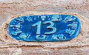 Israel, Jaffa, Ceramic numbers zodiac signs the number thirteen