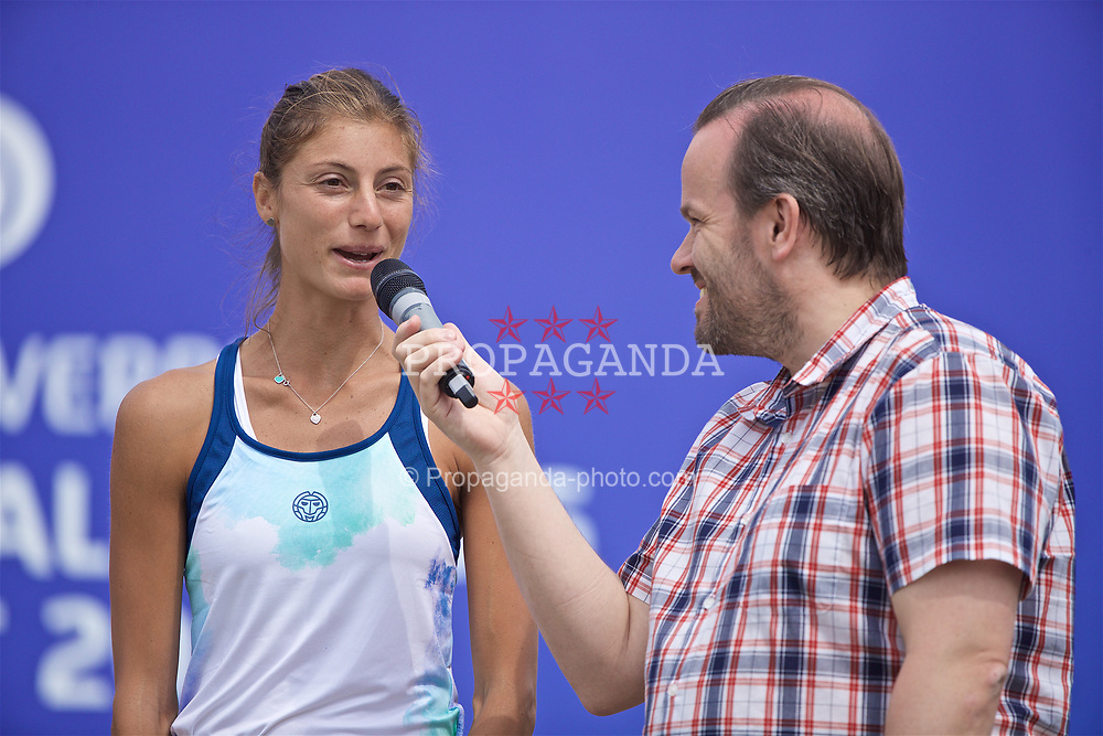 LIVERPOOL, ENGLAND - Sunday, June 23, 2019: Runner-up Corinna Dentoni (ITA) is interviewed by Simon Greening  after the Ladies' Final on Day Four of the Liverpool International Tennis Tournament 2019 at the Liverpool Cricket Club. (Pic by David Rawcliffe/Propaganda)