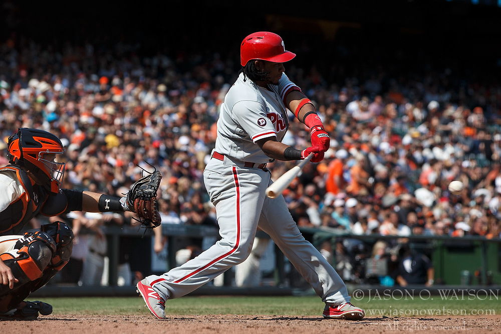 SAN FRANCISCO, CA - AUGUST 20: Maikel Franco #7 of the Philadelphia Phillies at bat against the San Francisco Giants during the eighth inning at AT&T Park on August 20, 2017 in San Francisco, California. The Philadelphia Phillies defeated the San Francisco Giants 5-2. (Photo by Jason O. Watson/Getty Images) *** Local Caption *** Maikel Franco