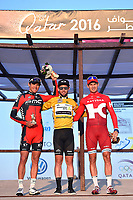 Podium, VAN AVERMAET Greg (BEL) BMC, CAVENDISH Mark (GBR) Dimension Data, Yellow Leader Jersey, KRISTOFF Alexander (NOR) Katusha, during the 15th Tour of Qatar 2016, Stage 5, Sealine Beach Resort - Doha Corniche (114,5Km), on February 12, 2016 - Photo Tim de Waele / DPPI