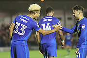 AFC Wimbledon striker Lyle Taylor (33) celebrating with AFC Wimbledon attacker Harry Forrester (11) after scoring goal to make it 2-1 during the EFL Sky Bet League 1 match between AFC Wimbledon and Rotherham United at the Cherry Red Records Stadium, Kingston, England on 17 October 2017. Photo by Matthew Redman.