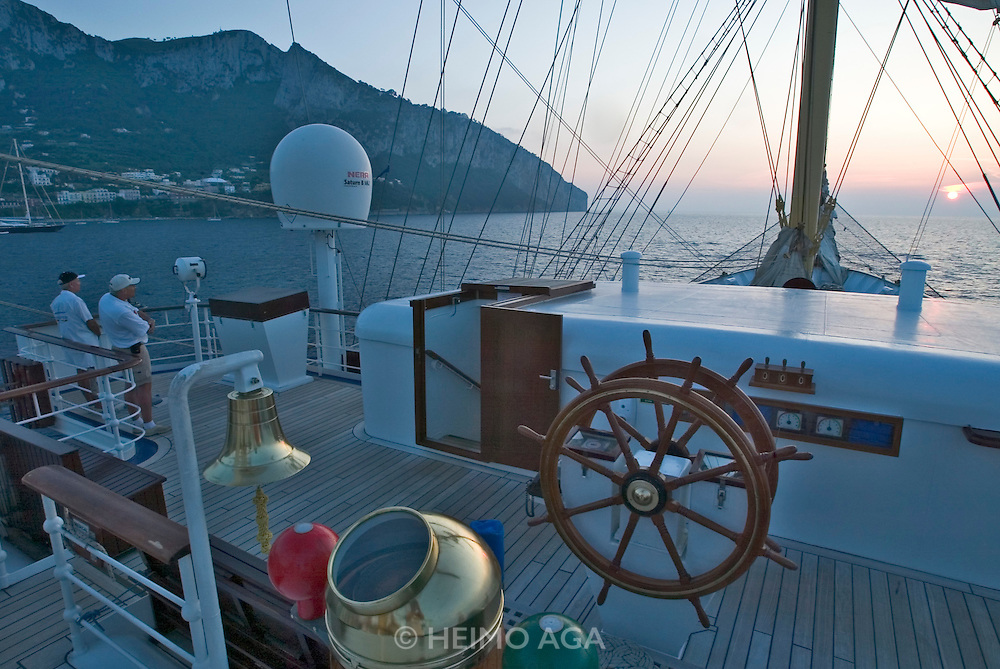 Sunset seen from aboard the Royal Clipper, anchoring in front of Marina Grande.