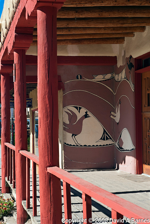Porch of building, painting, Taos, New Mexico, USA