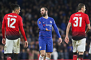 Chelsea Forward Gonzalo Higuain on loan from Juventus shows frustration and gestures to Manchester United Defender Chris Smalling during the The FA Cup 5th round match between Chelsea and Manchester United at Stamford Bridge, London, England on 18 February 2019.