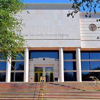 Arizona State Courts Building in Phoenix, Arizona<br /> As its name suggests, the Arizona State Courts Building has housed the city&rsquo;s and state&rsquo;s justice and appeals courts plus the Arizona Supreme Court since opening in 1991. Most interesting are the words etched above the northern fa&ccedil;ade. These are a partial quote delivered to the House of Lords in 1770 by William Pitt, the 1st Earl of Chatham. An expanded version is, &ldquo;Unlimited power is apt to corrupt the minds of those who possess it &hellip; where law ends, there tyranny begins.&rdquo; Pitt the Elder was also the Prime Minister of Great Britain.