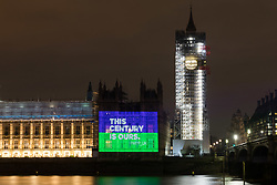 "© Licensed to London News Pictures. 06/02/2018. London, UK. A projection reading ""This century is ours"" onto the Palace of Westminster by the Women's Equality Party to mark the centenary of the 1918 Representation of the People Act, which passed on 6 February 1918. Photo credit: Vickie Flores/LNP"