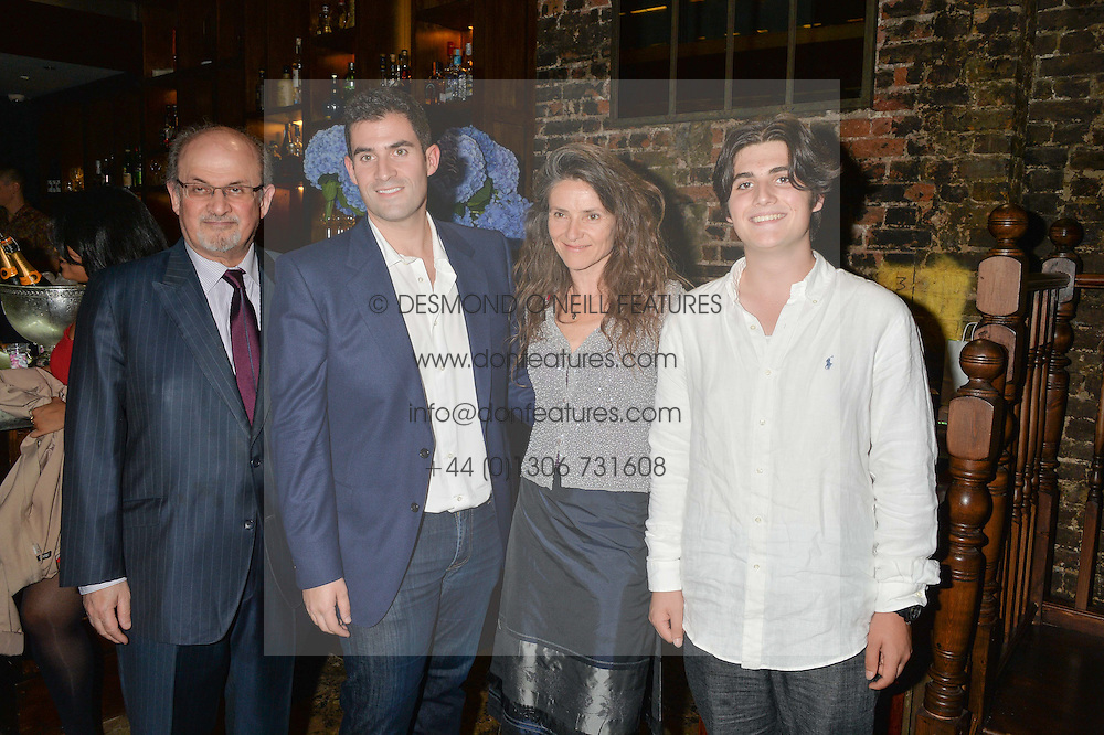 Left to right, SIR SALMAN RUSHDIE, ZAFAR RUSHDIE, Sir Salman's for wife ELIZABETH WEST and their son MILAN RUSHDIE at a party to celebrate the engagement of Natalie Coyle and Zafar Rushdie held at Library, St.Martin's Lane, London on 6th September 2014.