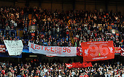 Liverpool fans remember those who died at Hillsbrough during the UEFA Champions League Quarter Final Second Leg match between Chelsea and Liverpool at Stamford Bridge on April 14, 2009 in London, England.