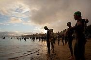 Elite Swim Start. Urban Geelong 2.80.20 Triathlon. 2012 Geelong Multi Sport Festival. Eastern Beach, Geelong, Victoria, Australia. 12/02/2012. Photo By Lucas Wroe