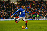 Captain James Tavernier of Rangers crosses the ball during the Ladbrokes Scottish Premiership match between Rangers and Hamilton Academical FC at Ibrox, Glasgow, Scotland on 16 December 2018.