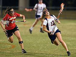 Virginia D Katie Shannon (13) in action against UMD.  The #3 ranked Maryland Terrapins defeated the #2 ranked Virginia Cavaliers in NCAA Women's Lacrosse 17-11 at Klockner Stadium on the Grounds of the University of Virginia in Charlottesville, VA on March 6, 2009.