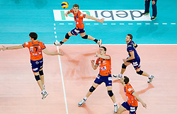 Matevz Kamnik, Vid Jakopin, Dejan Vincic, Andrej Flajs and Daniel Lewis of ACH during volleyball match between ACH Volley (SLO) and Olympiacos (GRE) in 4th Round of 2011 CEV Champions League, on December 14, 2010 in Arena Stozice, Ljubljana, Slovenia.  (Photo By Vid Ponikvar / Sportida.com)