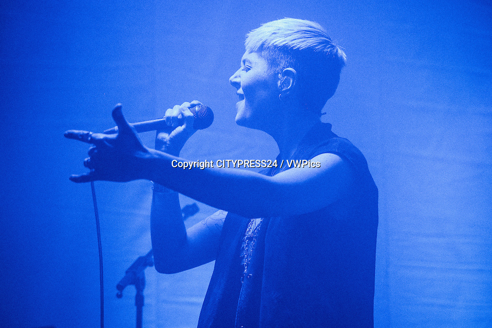 The Danish electropop duo Blondage performs a live concert at VEGA in Copenhagen as part of the Danish music and art festival Frost Festival 2017. The duo consists of musicians and singers Esben Nørskov Andersen and Pernille Smith-Sivertsen (pictured). Denmark, 08/02 2017.