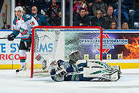 KELOWNA, CANADA - JANUARY 30: Roddy Ross #1 of the Seattle Thunderbirds lies in the crease against the Seattle Thunderbirds  on January 30, 2019 at Prospera Place in Kelowna, British Columbia, Canada.  (Photo by Marissa Baecker/Shoot the Breeze)