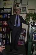 Sir John Hoskyns and Piers Burnett. Sir John Hoskyns book launch. Politico's bookshop. London. 10 October 2000. © Copyright Photograph by Dafydd Jones 66 Stockwell Park Rd. London SW9 0DA Tel 020 7733 0108 www.dafjones.com